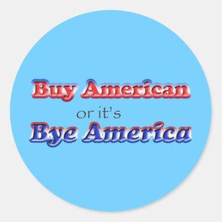 bye american classic round sticker