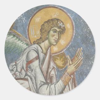 Byzantine Angel with Folded Hands Classic Round Sticker