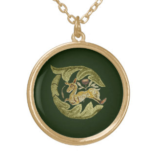 Byzantine Antelope Gold Plated Necklace