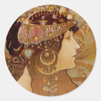 Byzantine Brunette, 1897 Classic Round Sticker