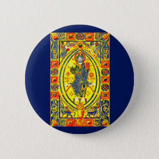 Byzantine folk art Jesus 2 Inch Round Button