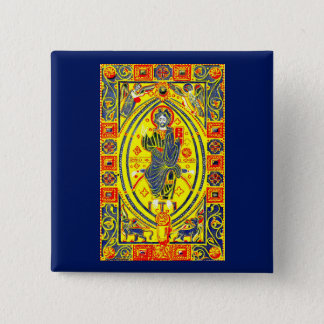 Byzantine folk art Jesus 2 Inch Square Button
