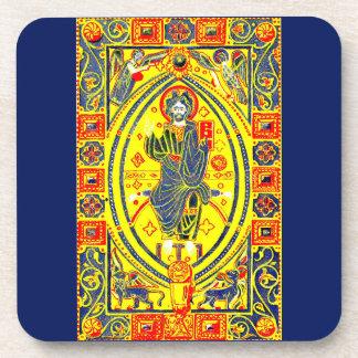 Byzantine folk art Jesus Coaster