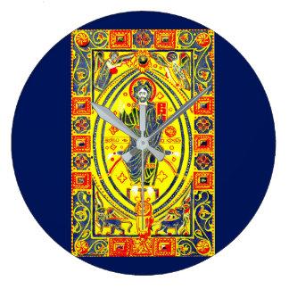 Byzantine folk art Jesus Large Clock