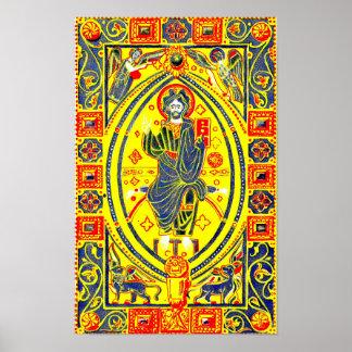 Byzantine folk art Jesus Poster