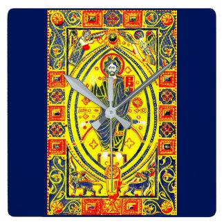 Byzantine folk art Jesus Square Wall Clock