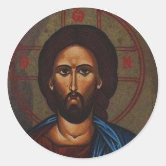 Byzantine Greek Orthodox Icon JESUS CHRIST Classic Round Sticker