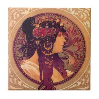 Byzantine Heads: Brunette Alfons Mucha Tile