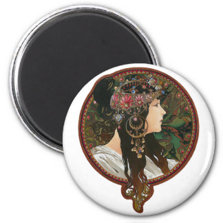 Byzantine Heads: Brunette and Alfons Mucha Magnet