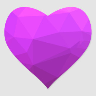 Byzantine Purple Abstract Low Polygon Background Heart Sticker