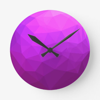 Byzantine Purple Abstract Low Polygon Background Round Clock