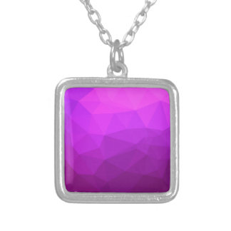 Byzantine Purple Abstract Low Polygon Background Silver Plated Necklace