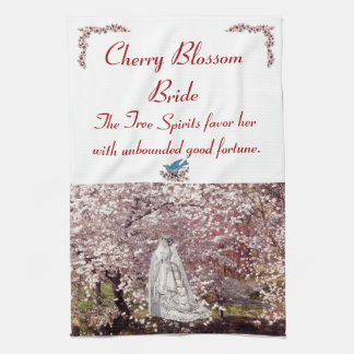 C23 Cherry Blossom Bride Tea Towel