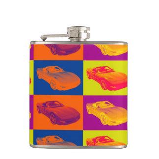 C5 Corvette convertible Muscle Car Pop Art Flask