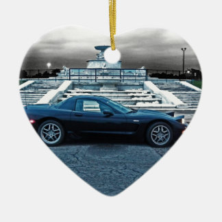 C5 ZO6 CORVETTE ON BELLE ISLE CERAMIC ORNAMENT