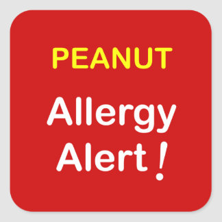 c7 - Allergy Alert - PEANUTS. Square Sticker