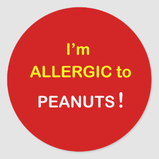 c8 - I'm Allergic - PEANUTS. Round Sticker
