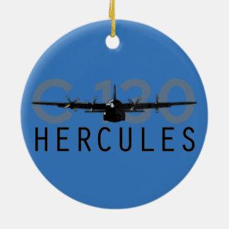 C-130 Hercules Round Ceramic Ornament