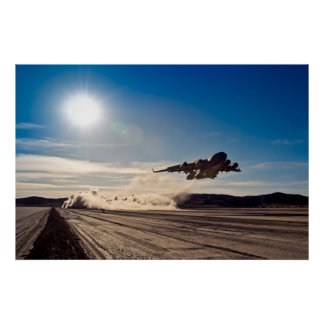 C-17 taking off from dry lake bed poster