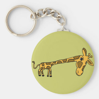 C.A. bande dessinée drôle Keychain de girafe Porte-clé Rond