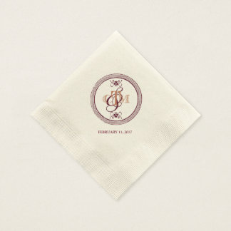 C and M monogrammed cocktail napkins Disposable Napkins