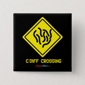 C. Diff Crossing Sign 2 Inch Square Button