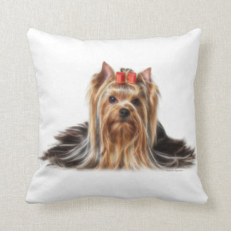 C.E. Cute Yorkie Fractal Art Toss Pillow