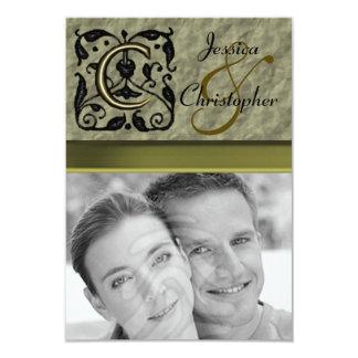 "C - Embossed Vintage Monogram (Gold) (Wedding) 3.5"" X 5"" Invitation Card"