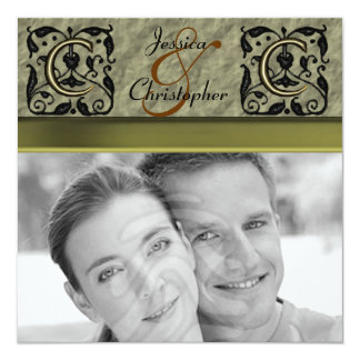 "C - Embossed Vintage Monogram (Gold) (Wedding) 5.25"" Square Invitation Card"