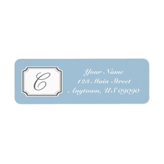 C Fancy Mongram Address Label (Blue)
