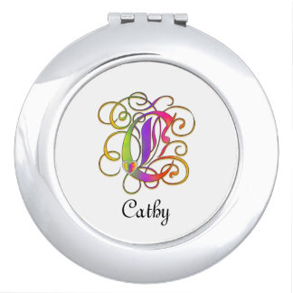 C Gothic Sunshine Mirror Compact with Name
