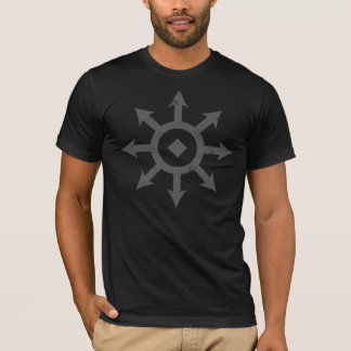 C H A O S Crest Distressed Mens Dark Grey T-Shirt