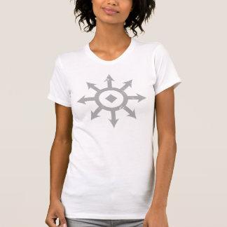 C H A O S Crest Distressed Womens Light Grey T Shirt