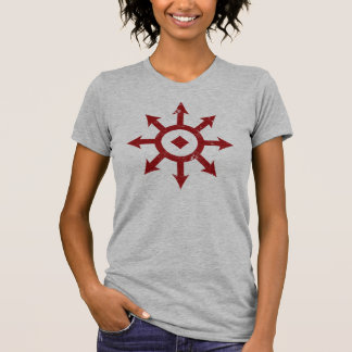 C H A O S Crest Distressed Womens Red Shirt