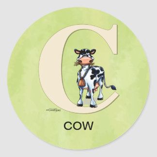 C is Cow Gifts Classic Round Sticker