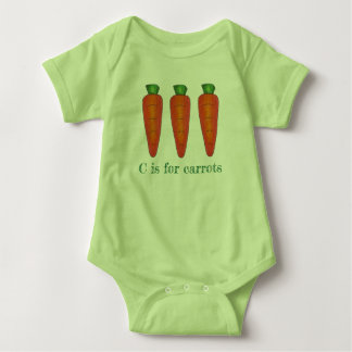 C is for Carrots Orange Green Carrot Vegetable Baby Bodysuit
