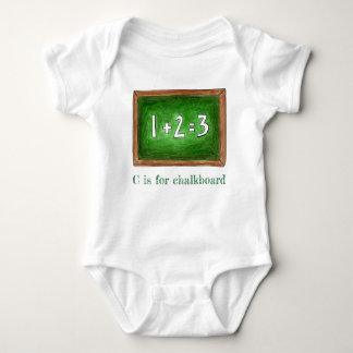 C is for Chalkboard Green School Slate Math ABCs Baby Bodysuit