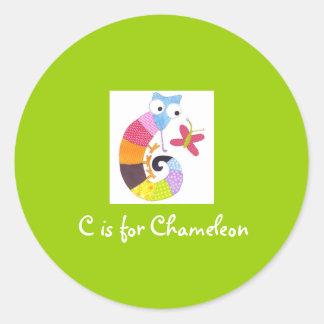 C is for Chameleon Round Sticker