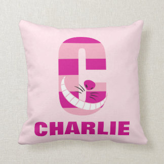 C is for Cheshire Cat | Add Your Name Throw Pillow