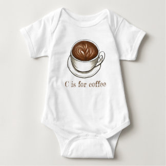 C is for Coffee Seattle Latte Letter C Alphabet Baby Bodysuit
