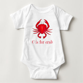 C is for Crab Red Maryland Seafood Crabby Beach Baby Bodysuit