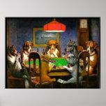 C.M. Chiens de Coolidge jouant au poker Posters