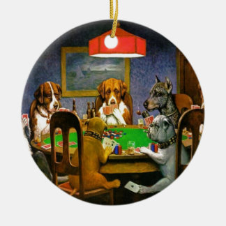 C. M. Coolidge Dogs Pets Poker Cards Humor Destiny Ceramic Ornament