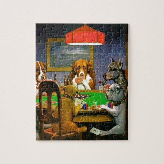 C. M. Coolidge Dogs Pets Poker Cards Humour Jigsaw Puzzle