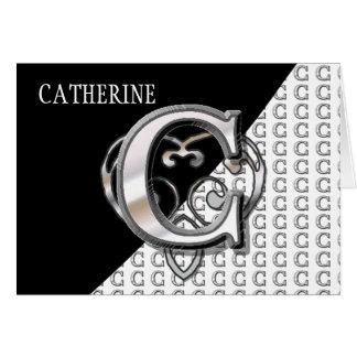 C - Modern Metallic Monogram Silver Card