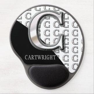 C - Modern Metallic Monogram (Silver) Gel Mouse Pad