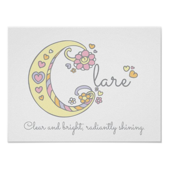 C monogram art Clare girls name meaning poster