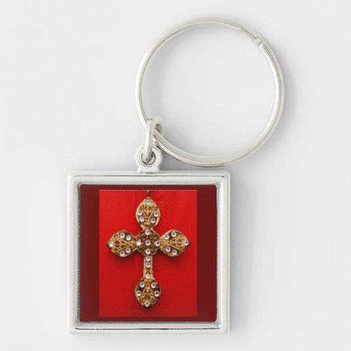 C R O S S - Cross Jewelled Bleeding Red Background Keychains