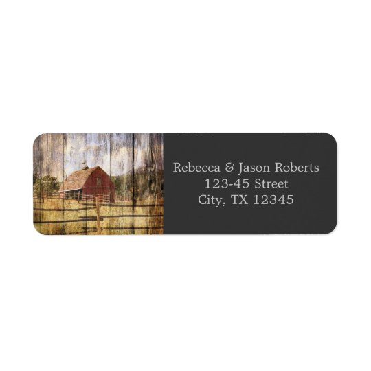 c woodgrain western red barn country wedding return address label