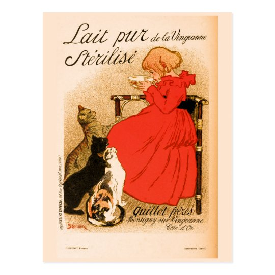 ca 1890 vintage French Milk advertisement Postcard